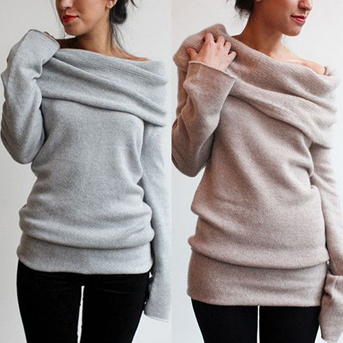 New Arrival Women Sexy Casual Off Shoulder Roll Neck Long Sleeve Knitted Jumper Sweater Top