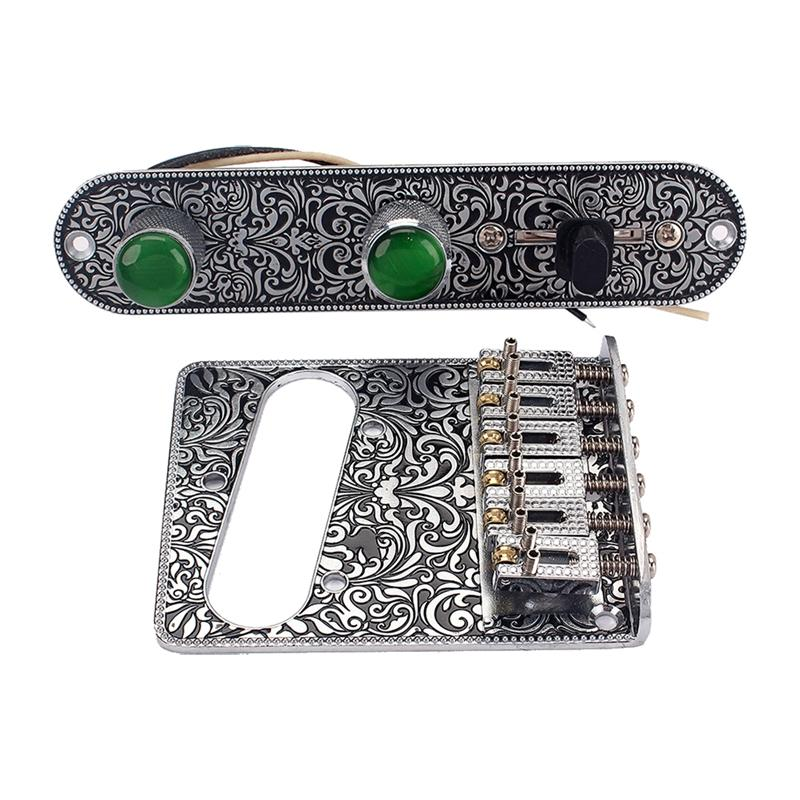 Pre-wired Switch Control Plate Bridge Plate 3 Way Knobs Tremolo Bridge for Fender Telecaster Tele Electric Guitar Parts fender am spec tele rw sgm