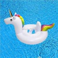Baby Opblaasbare Eenhoorn Zwembad Float Blauw Wit Geel Rit-Op Roze Flamingo Zwemmen Ring Drijvende Ruwe Water Party Speelgoed voor babies