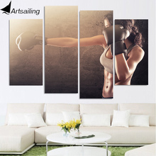 HD Printed 4 Piece Canvas Art Boxing Fitness Sexy HD Muscle Sport Painting Wall Pictures for Living Room Free Shipping NY-6922D