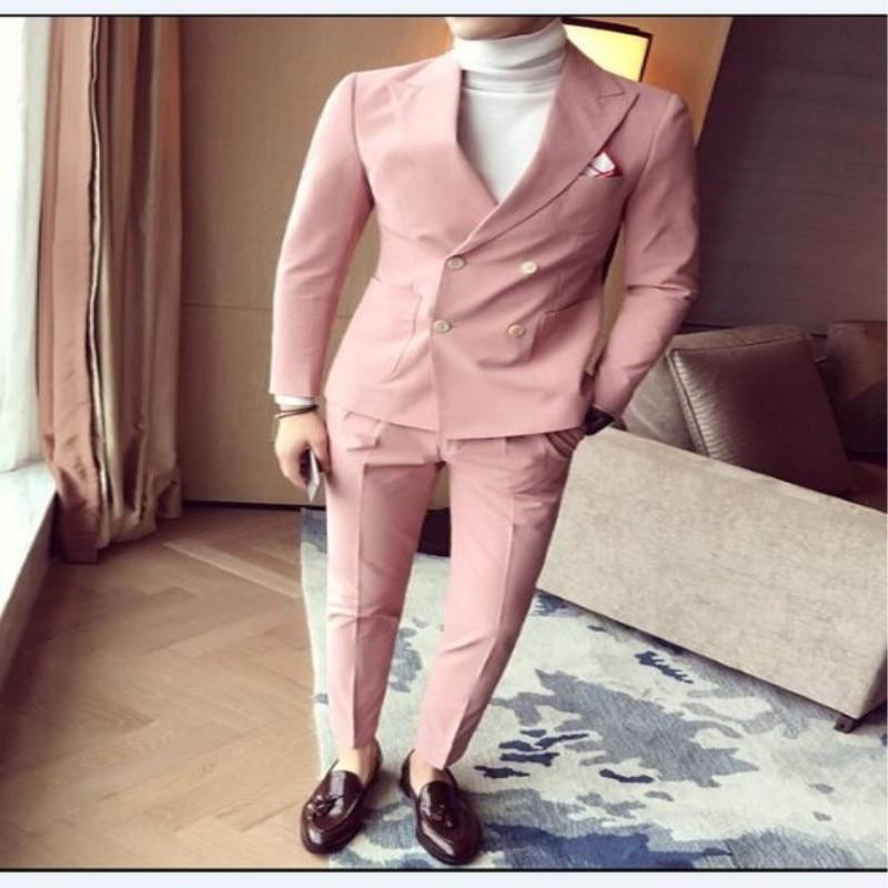 베이지 남성 정장 더블 브레스트 핑크 웨딩 정장 남자 영국 스타일 슬림 맞는 두 조각 저렴한 정장 재킷 pant195-에서정장부터 남성 의류 의  그룹 1