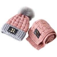 Christmas Winter Children Boys Cap Girls Hat Scarf Set Kids Knitting Warm Crochet Cap Age Size