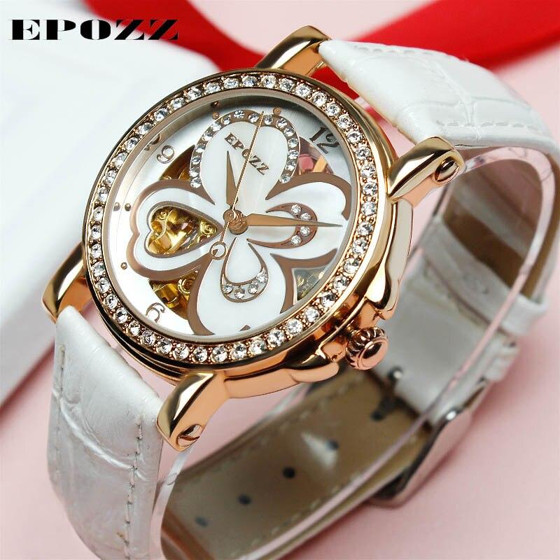 EPOZZ Brand new mechanical watch for women white flower openwork watches fashion dress waterproof leather strap wristwatch 80031 цена