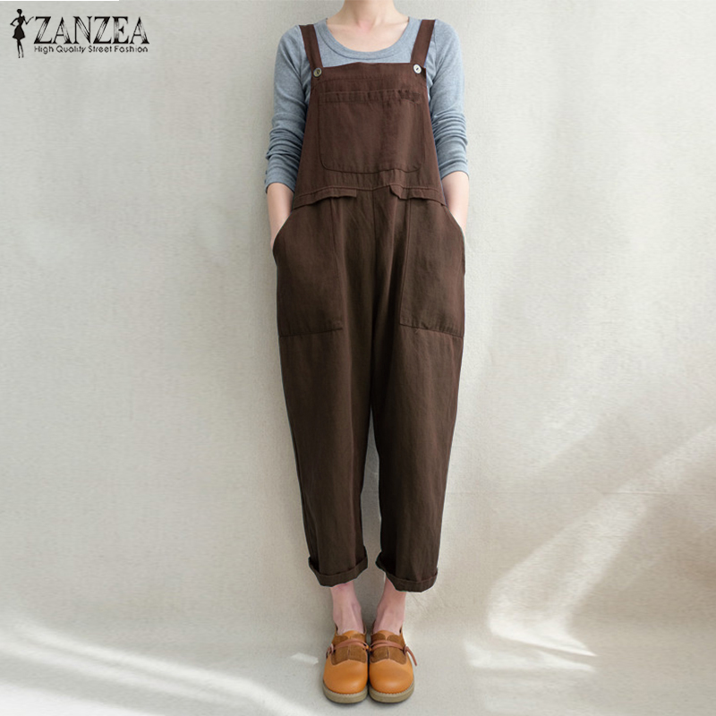 2018 ZANZEA Women Cotton Linen Dungarees Strappy Pockets Loose Solid Jumpsuits Summer Casual Bib Overalls Rompers Plus Size