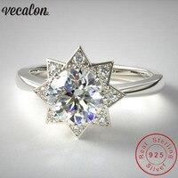 Vecalon ювелирные изделия звезда Солнце Форма 100% Soild кольцо из стерлингового серебра 925 5A циркон Cz обручальные Обручальные кольца для мужчин и ж