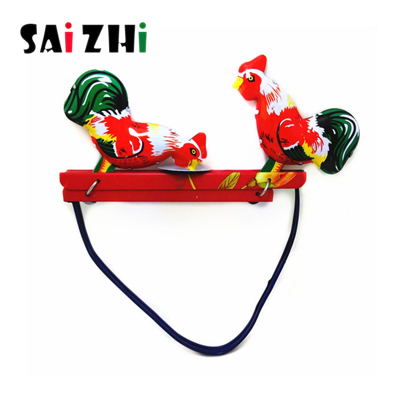 Saizhi 1Pcs Iron Vintage Pecking Chicks Tin Model Toy Collectible Gift for Children Adult Baby Classic Toy Birthday Xmas Gift