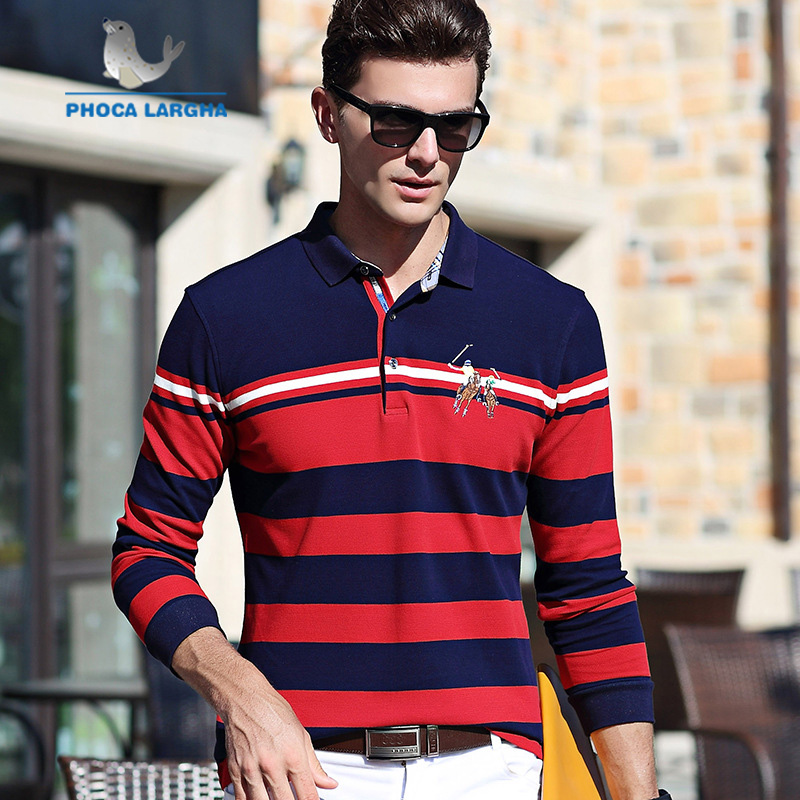 New Men's   Polo   Shirts Embroidery High Quality Tops For Man Long Sleeve Shirts Striped Business Casual Brand   Polos   para hombre