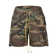 QoolXCWear Cargo Shorts Cotton hip hop  Men Short Pants wash water do old camouflage shorts stereo cut pocket men