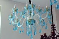French Deluxe Blue Chandelier Home Indoor Hanging Lighting Modern Led Lustres De Cristal Living Room Star