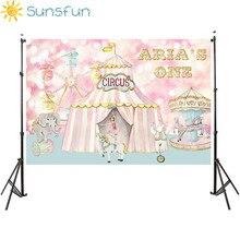 Sunsfun写真スタジオ資金サーカス誕生日ピンクパーティー動物カルーセル観覧車背景photocallプロ