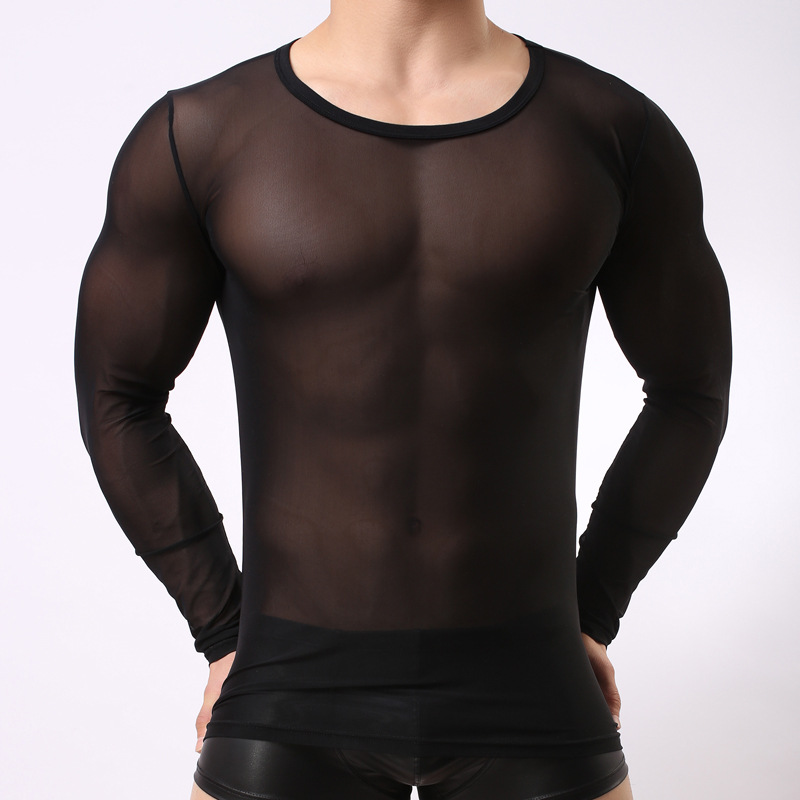 Sexy <font><b>Men</b></font> 's Transparent <font><b>Mesh</b></font> <font><b>Long</b></font> Sleeve Tops Gay Night Club clothing Gauze Tights T <font><b>Shirts</b></font> Black White See Through Undershirt image
