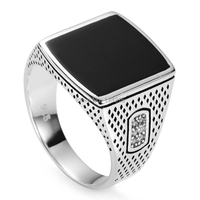 Fashion Jewelry New Arrivals Black Enamel And White Cubic Zirconia Promotion 925 Sterling Silver Hot Ring