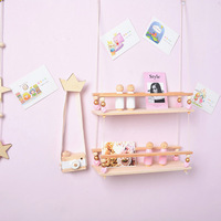 D Nordic Children Room Decorative Wall Shelf Rack Wood Wall Shelves Clapboard With Wooden Beads INS Kids Decoration Party Gifts