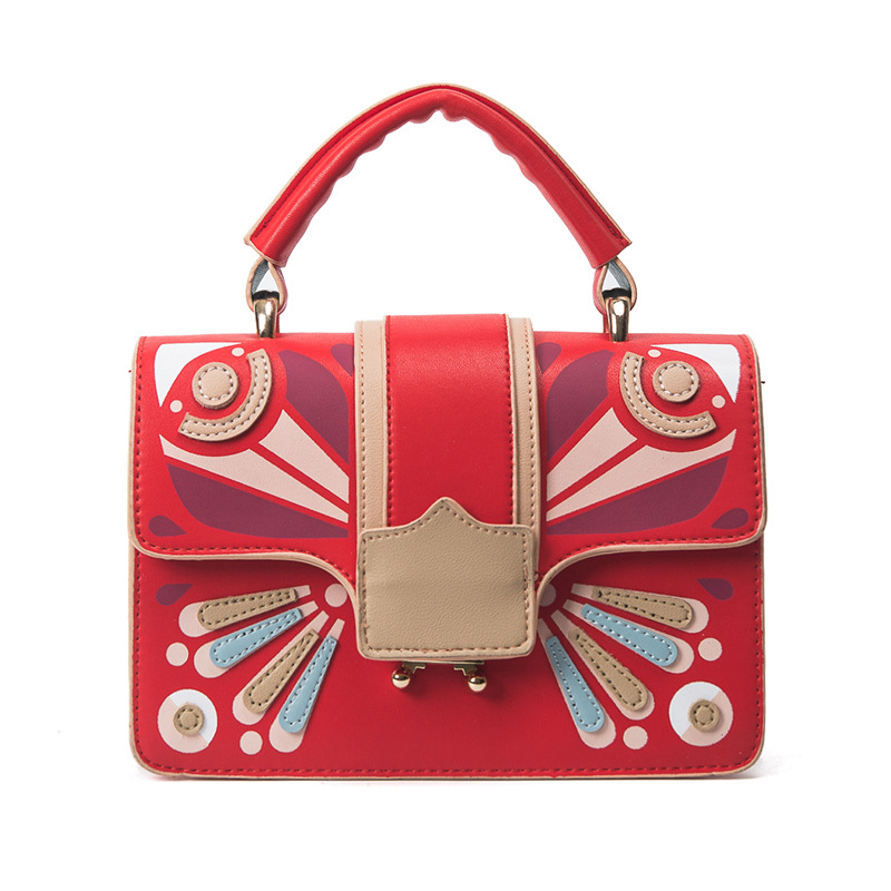 Luxury brand designer hit color stitching small square bag new pu handbag female European and American