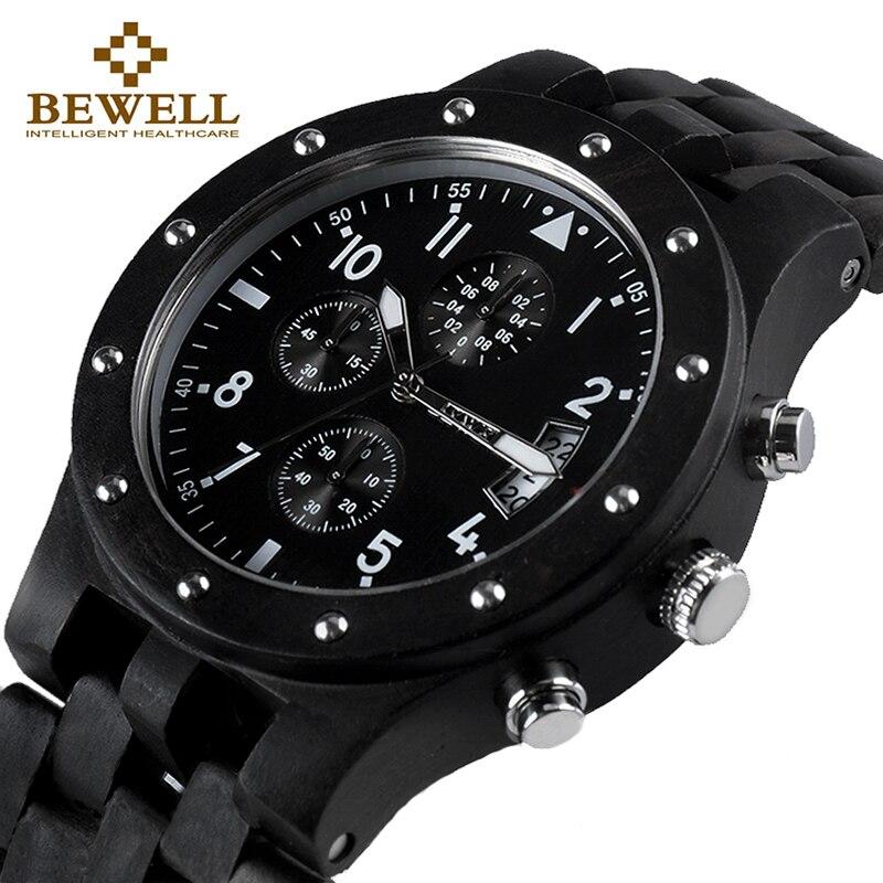 BEWELL Элитный бренд Для мужчин деревянные часы человек Водонепроницаемый часы Для мужчин хронограф Аналоговый Цифровой кварцевые часы Relogio ...