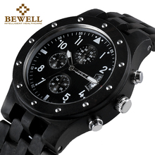 BEWELL Luxury Brand Men Wood Watch Man Waterproof Hour Mens Chronograph Analog Digital Quartz Clock Relogio Masculino 109D