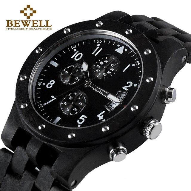 BEWELL Luxury Brand Men Wood Watch Man Waterproof Hour Men's Chronograph Analog Digital Quartz Clock Relogio Masculino 109D
