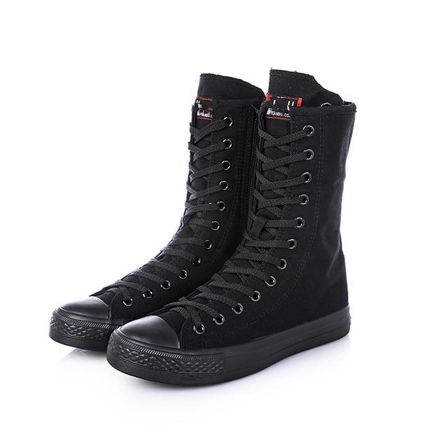 ผู้หญิงผ้าใบรองเท้า 2019 ฤดูใบไม้ผลิฤดูใบไม้ร่วงแบนรองเท้าผู้หญิงกลางลูกวัวรอบ Toe Lace - up ซิป Bota feminina Botines Mujer