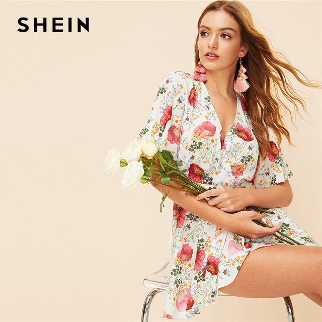 2a62478fe2 SHEIN Multicolor Fluted Sleeve Wrap Belted Floral Print Mini Summer Dress  Women V-Neck Flounce Hem A Line Bohemian Dresses