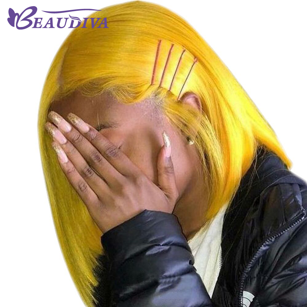 Yellow Straight Short Lace Front Human Hair Wigs Bob Wigs For Black Women Brazilian Middle Part
