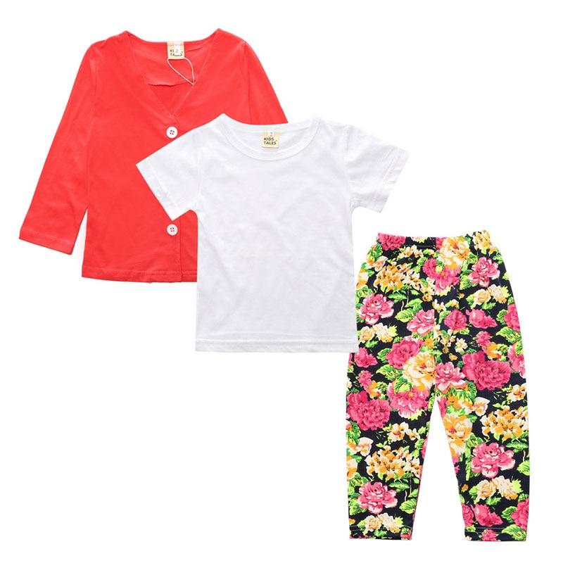 afd58af4b3b620 Kopen Goedkoop Meisjes Mode 3 stks Kinderkleding Set Herfst Kleding Voor  Meisje Katoenen Shirt + Tops + Bloemen Broek Sport Pak voor Meisje Baby  Meisje ...