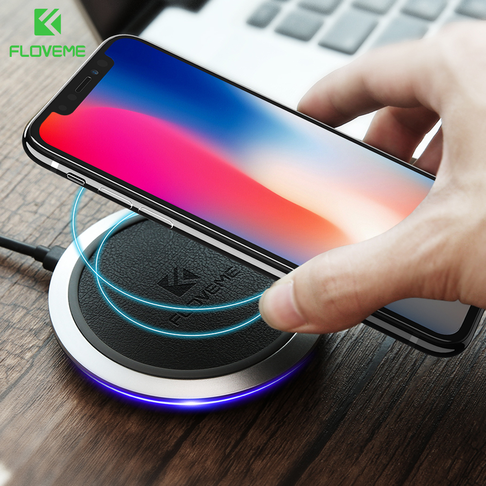 Qi Fast Wireless Charger , FLOVEME Original Leather Wireless Chargers For iPhone X 8 Plus Samsung Note 8 S8 Plus S7 Charging Pad