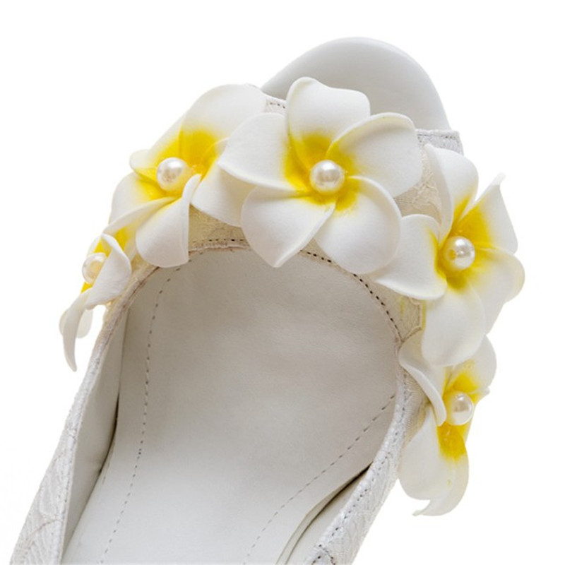 Mujer Tacones Boda White Mujeres Partido Dedos Cuña Confort Plataforma Las Abiertos Flor Sandalias Bombas De Altos Zapatos wqwFHYz