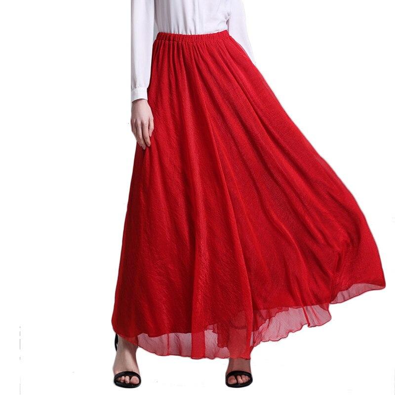 2016 frauen Maxi Langen Rock Einfarbig Rot Lila Schwarz Blau Grau Gefaltete Chiffon-Sommer Beachwear Damen Elegante Jupe Röcke