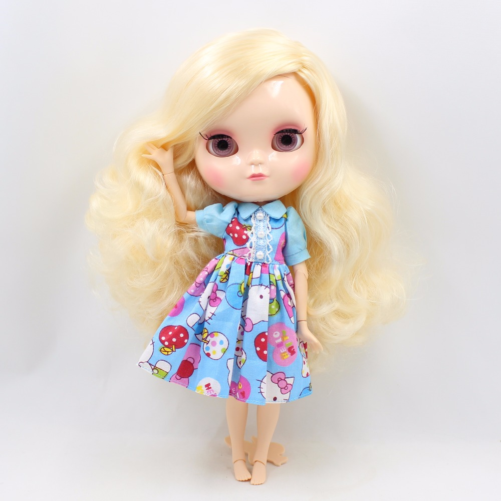Neo Blythe Doll with Yellow Hair, White Skin, Shiny Face & Jointed Azone Body 1