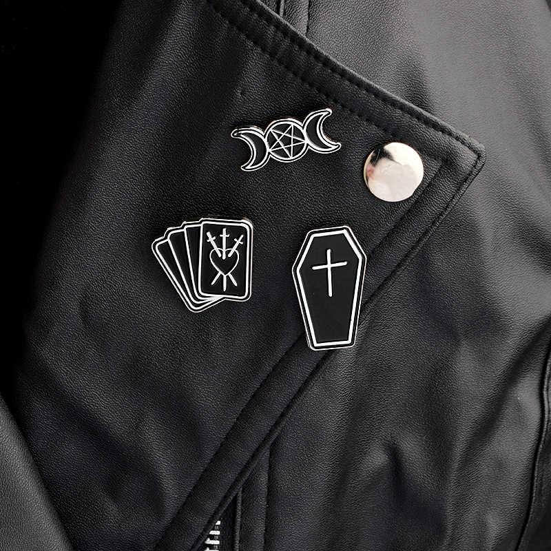 3 шт./компл., эмалированные заколки унисекс для ювелирных изделий, тройная подвеска в виде Луны, гроба, покера, колдовства, лацкана, Goth, Dark, панк, украшения для женщин и мужчин
