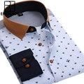 2016 Весна Прибытие Мужчины Цветочные Рубашки Мода Длинным Рукавом Индивидуальность Бизнес Случайные Корейской Человек Точка Печатается Рубашки Платья M020
