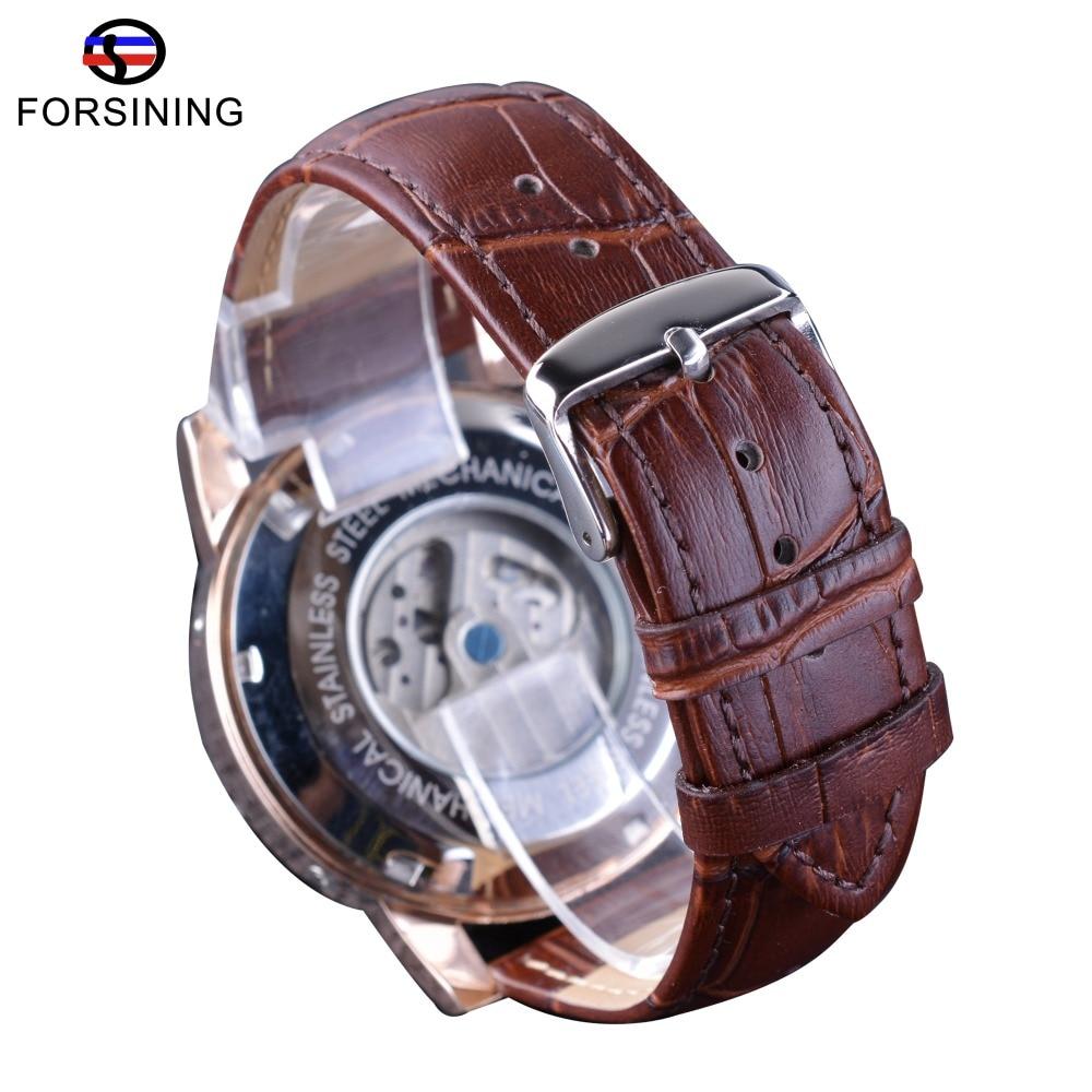 Forsining καφέ γνήσιο δερμάτινο λουράκι - Ανδρικά ρολόγια - Φωτογραφία 5