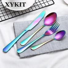 XYKIT 4 8 16 24pcs Rainbow Dinner Set Wedding Travel Cutlery Set 18/10 Stainless Steel Dinner Knife Fork Scoops Silverware a