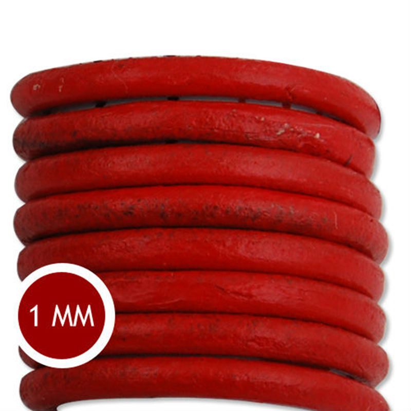 1.0 мм Толщина Популярные Красный Круглый Кожаный Плетеный Канат Для Вязания Ювелирные Изделия, продано 50 Ярдов/Рулон