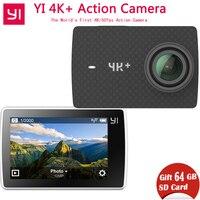 Бесплатная 64 г SD карты Xiaomi Yi 4k + (плюс) экшен камера Эра xiaoyi 4k + экшен камера первые 4 К/60fps Амба H2 12MP 155 градусов 2,19 сырые
