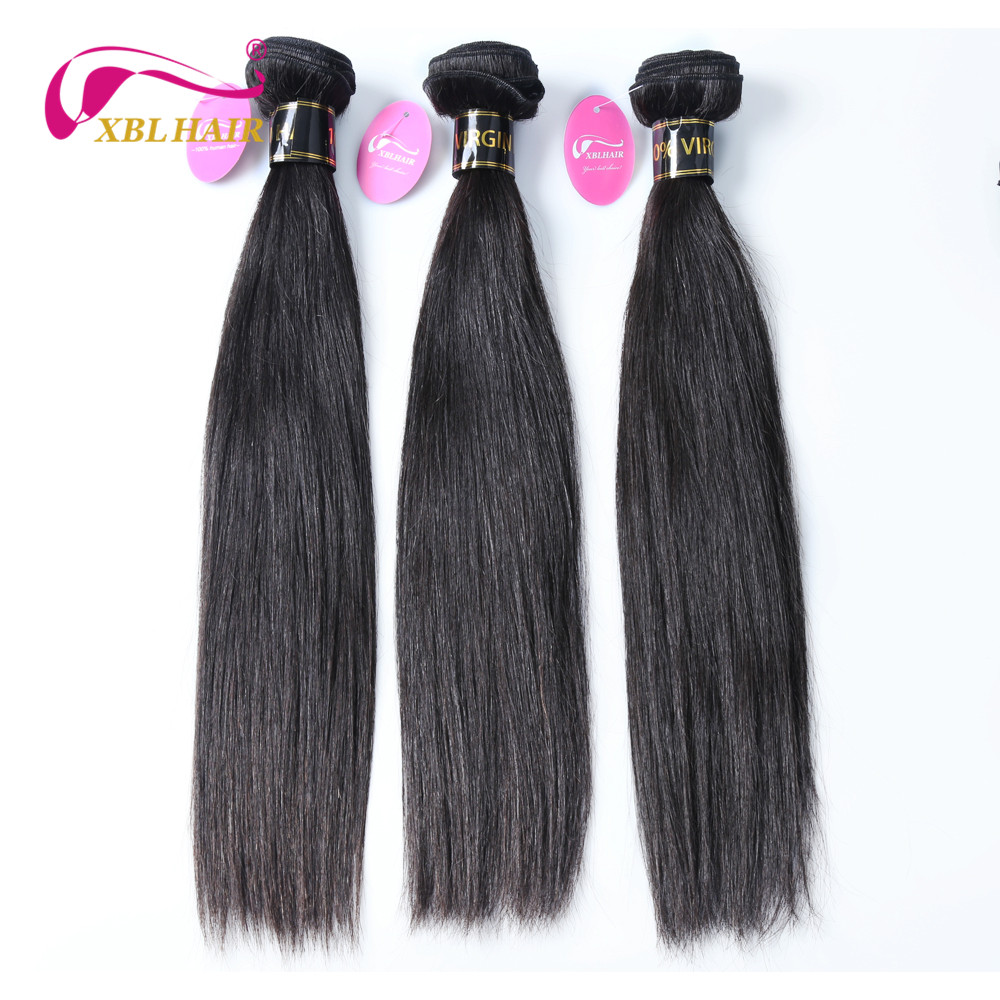 XBL HAIR Unprocessed Brazilian Virgin Hair Straight Human Hair Weaves 1Pc lot Can Buy 3 or