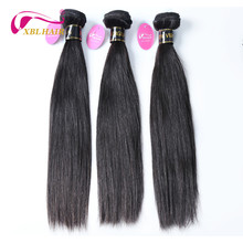 XBL волос Необработанные бразильский девственные волосы прямые человеческие Синтетические волосы соткут 1 шт./лот можно купить 3 или 4 Связки Natural Цвет может быть окрашены