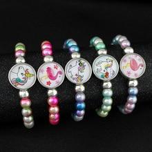 Рекламный подарок, единорог, фламинго, Русалка, кнопки, жемчужные бусины, бисерные браслеты для женщин