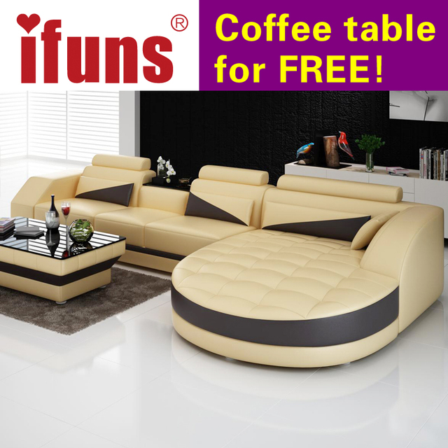 Ifuns Black White Modern European Furniture Luxury Quality Leather Sofas L Shape Sectional