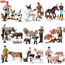 Oenux Cute Farmers Model Simulation Zoo Farm Staff Action Figures Cow Hen Crab Animals Figurine Miniature Lovely Toys For Kids(China)
