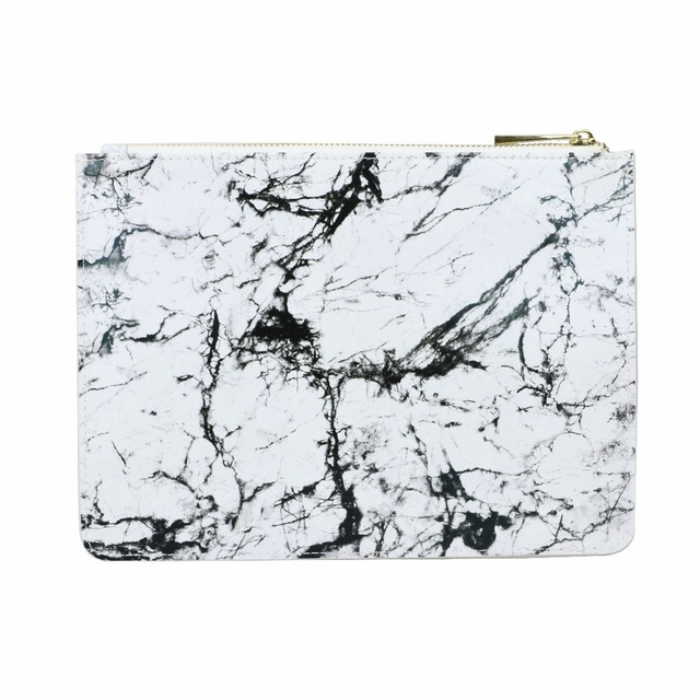 2018 new fashion customed initial letters women genuine marble printed leather lady clutch bag women handbag