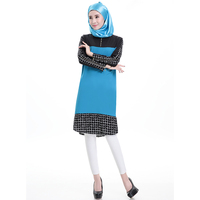 2016 Autumn Islamic Dress Plaid Women Muslim Dress Turkish Abaya Fashion Hijab Clothes