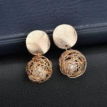 цены на 2018 Hot Fashion statement earrings Gold ball Geometric earrings For Women Hanging Dangle Earrings Drop Earing modern Jewelry  в интернет-магазинах