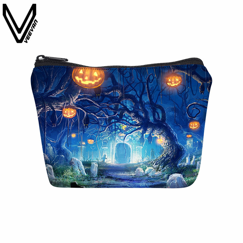 VEEVANV Halloween Style Coin Purse Zipper Wallet Women Square Purses Small Change Pocket Car Key Money Bag Mini Dollar Wallets ripped boyfriend high waist jeans women vintage loose washed cuffs denim shorts straight pockets bleached push up jeans femme