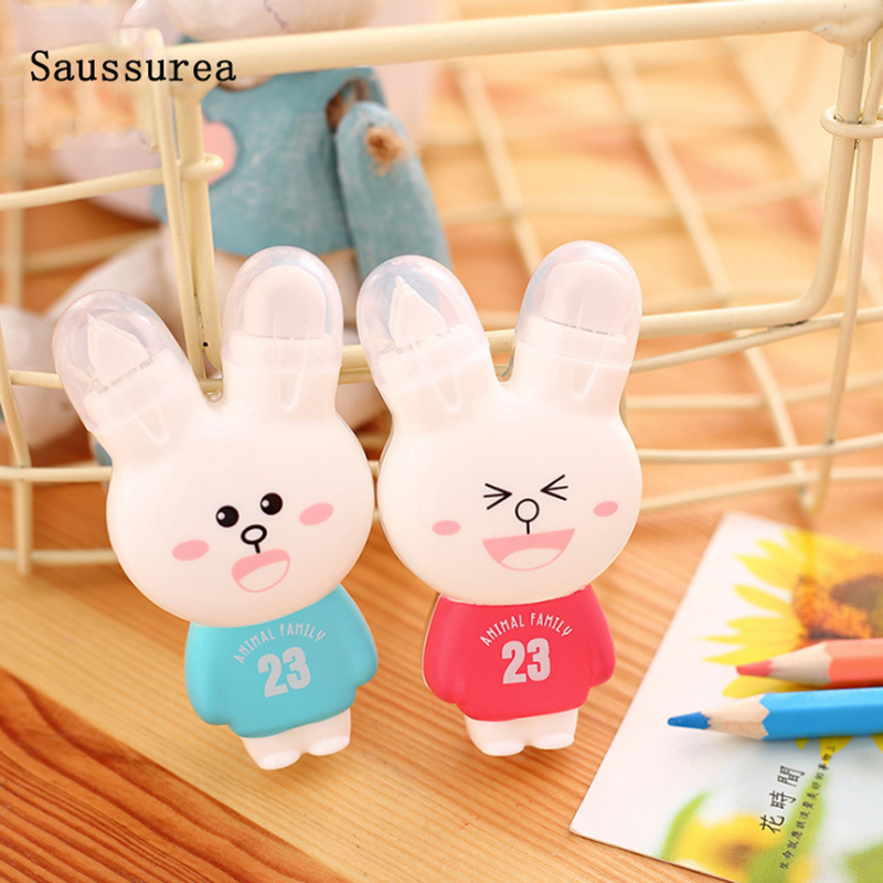 1pc Kawaii Correction Tape Cartoon Rabbit Correction Concealer Tape With Double Eraser Office School Supplies Cute Stationery
