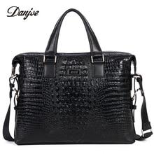 DANJUE Male Business Bag High Quality Leather Men Briefcase Genuine Leather Handbag Crocodile Trendy Computer Laptop Bag Totes