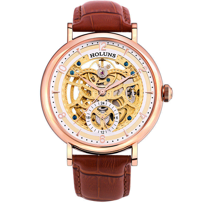 Automatic Mechanical men watch Stainless Steel Sapphire leather horloges mannen 2016 holuns Special luxury bigest dial skeleton holuns original luxury automatic mechanical watch golden big dial sapphire mirror hollow watch men casual retro leather watches