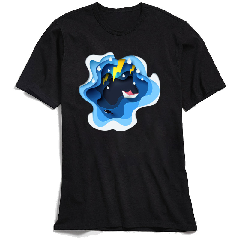 Paper Art Tops Shirts Family Round Neck Europe Short Sleeve 100% Cotton Fabric Mens T Shirt Summer Top T-shirts Paper Art black