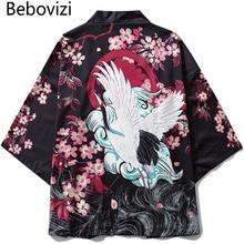 Bebovizi Japanese Ukiyoe Cherry Blossom Crane Kimono Jackets Mens Harajuku Streetwear Japan Style Coat Summer Hip Hop Thin Robe
