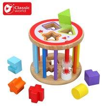 CLASSIC WORLD Caja de madera para encajar piezas de colores
